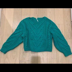 Free People Green Crop Sweater